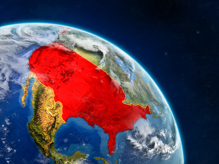 USA from space on realistic model of planet Earth with country borders and detailed planet surface and clouds. 3D illustration.