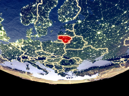 Satellite view of Lithuania from space at night. Beautifully detailed plastic planet surface with visible city lights. 3D illustration. Stok Fotoğraf