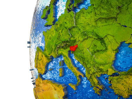 Slovenia highlighted on 3D Earth with visible countries and watery oceans. 3D illustration.