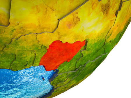 Nigeria on 3D model of Earth with water and divided countries. 3D illustration.