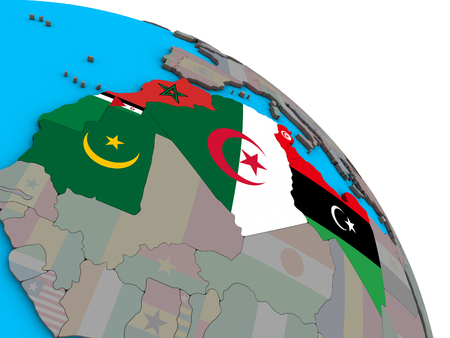 Maghreb region with embedded national flags on simple blue political 3D globe. 3D illustration. Фото со стока