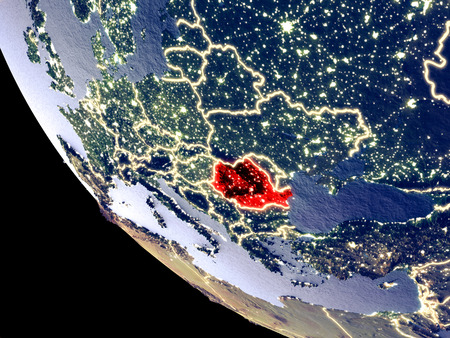 Orbit view of Romania at night with bright city lights. Very detailed plastic planet surface. 3D illustration.
