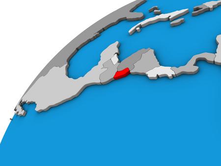 El Salvador on 3D globe. 3D illustration. Banco de Imagens
