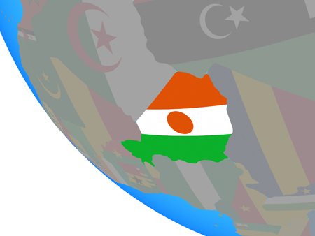 Niger with national flag on simple globe. 3D illustration.