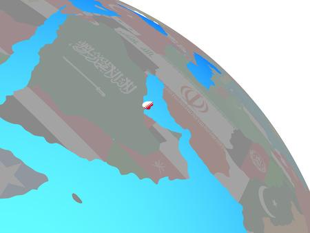 Qatar with national flag on simple blue political globe. 3D illustration. Stock Illustration - 111777524