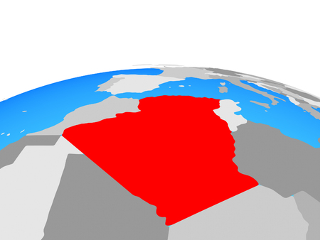 Algeria on political globe. 3D illustration.