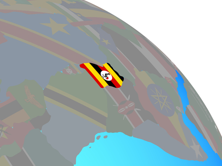 Uganda with national flag on simple blue political globe. 3D illustration.