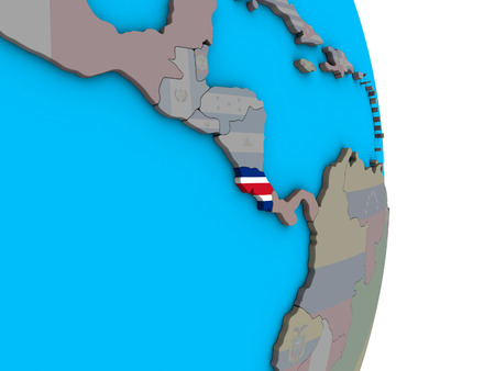 Costa Rica with embedded national flag on simple political 3D globe. 3D illustration.