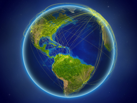 Caribbean from space on planet Earth with digital network representing international communication, technology and travel. 3D illustration.
