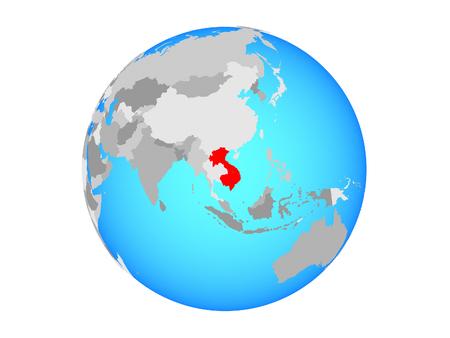 Indochina on blue political globe. 3D illustration isolated on white background. 版權商用圖片