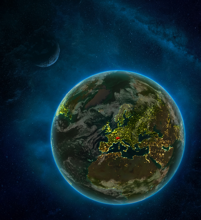 Switzerland from space on Earth at night surrounded by space with Moon and Milky Way. Detailed planet with city lights and clouds. 3D illustration.