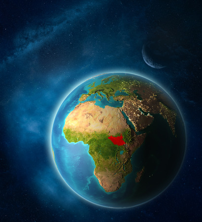South Sudan from space on planet Earth in space with Moon and Milky Way. Extremely fine detail of planet surface. 3D illustration. 스톡 콘텐츠 - 111777828