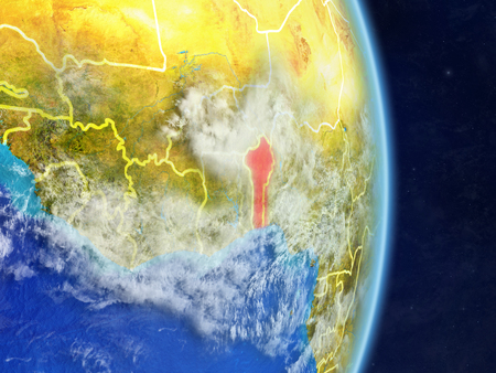 Benin on planet planet Earth with country borders. Extremely detailed planet surface and clouds. 3D illustration.