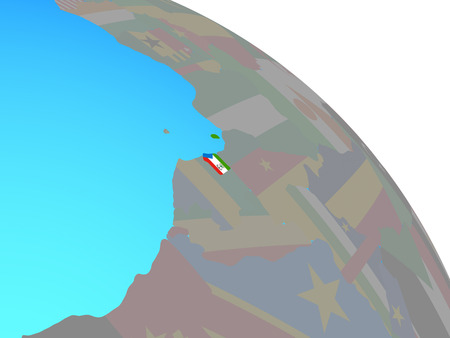 Equatorial Guinea with national flag on simple blue political globe. 3D illustration. 版權商用圖片