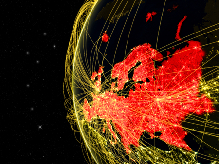 Europe on dark Earth with network representing telecommunications, internet or intercontinental air traffic. 3D illustration.