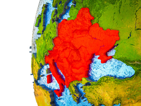 CEI countries highlighted on 3D Earth with visible countries and watery oceans. 3D illustration.