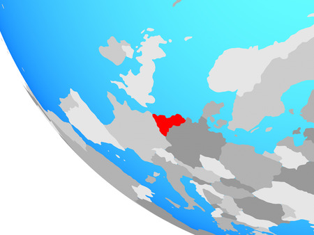 Benelux Union on simple globe. 3D illustration.