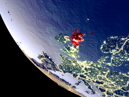Orbit view of Scotland at night with bright city lights. Very detailed plastic planet surface. 3D illustration. Stock Photo