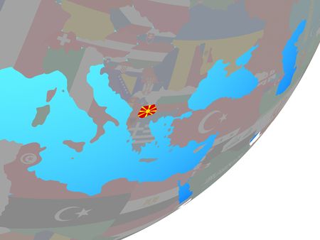 Macedonia with embedded national flag on blue political globe. 3D illustration.