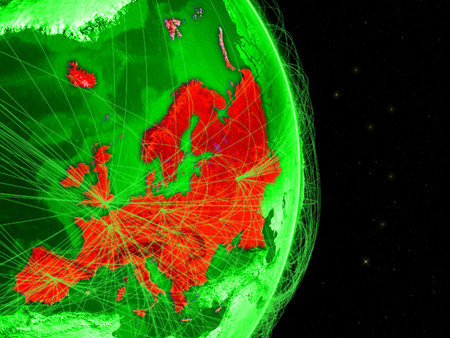 Europe on green Earth in space with networks. Concept of internet, telecommunications or air traffic between continents. 3D illustration.