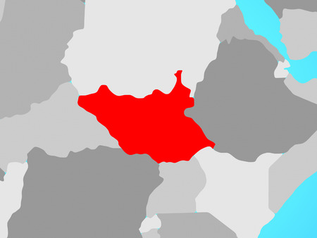 South Sudan on blue political globe. 3D illustration. Stockfoto
