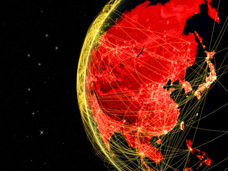 Asia on dark Earth with network representing telecommunications, internet or intercontinental air traffic. 3D illustration.