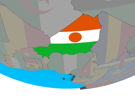Niger with embedded national flag on simple political 3D globe. 3D illustration. Stock Photo