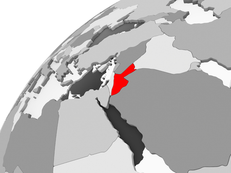 Map of Jordan in red on grey political globe with transparent oceans. 3D illustration.