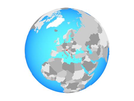 Slovenia on blue political globe. 3D illustration isolated on white background.