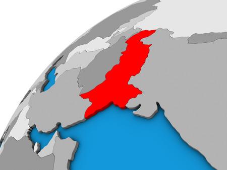 Pakistan on 3D globe. 3D illustration. Фото со стока