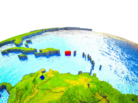Puerto Rico on 3D Earth with visible countries and blue oceans with waves. 3D illustration.