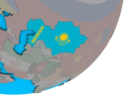 Kazakhstan with national flag on blue political 3D globe. 3D illustration. Фото со стока