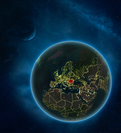 Romania at night from space with Moon and Milky Way. Detailed planet Earth with city lights and visible country borders. 3D illustration.