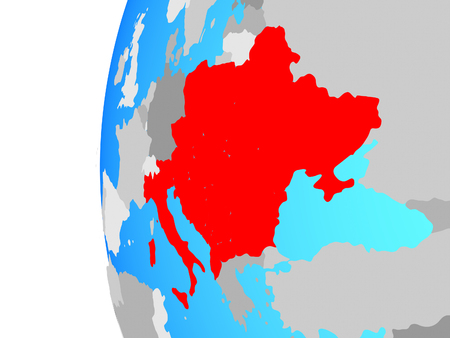 CEI countries on blue political globe. 3D illustration.