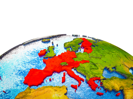 Eurozone member states on 3D Earth with visible countries and blue oceans with waves. 3D illustration.