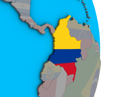 Colombia with embedded national flag on simple political 3D globe. 3D illustration.