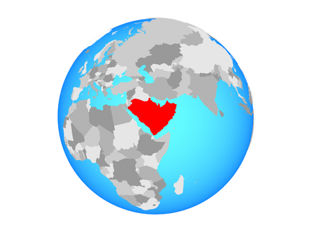 Arabia on blue political globe. 3D illustration isolated on white background. Stock Photo