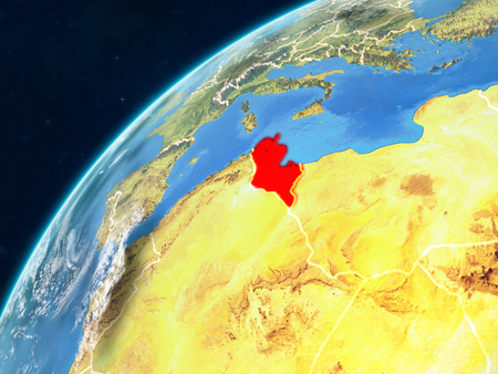 Tunisia on realistic model of planet Earth with country borders and very detailed planet surface and clouds. 3D illustration. Stock Photo