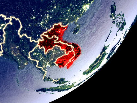 Indochina from space on model of Earth at night. Very fine detail of the plastic planet surface and visible bright city lights. 3D illustration. Stock Photo