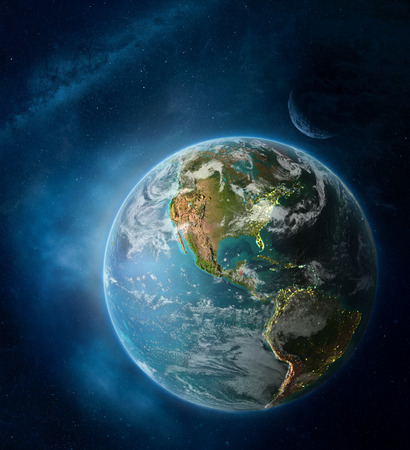 Belize from space on Earth surrounded by space with Moon and Milky Way. Detailed planet surface with city lights and clouds. 3D illustration.
