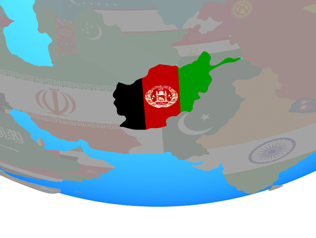 Afghanistan with national flag on simple political globe. 3D illustration.
