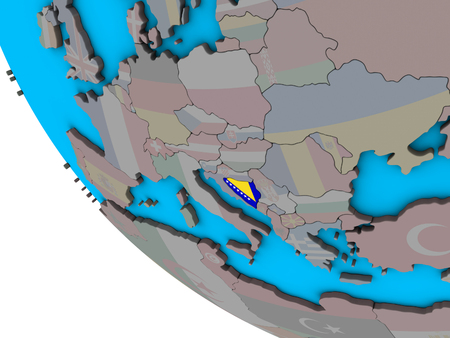Bosnia and Herzegovina with embedded national flag on simple 3D globe. 3D illustration.