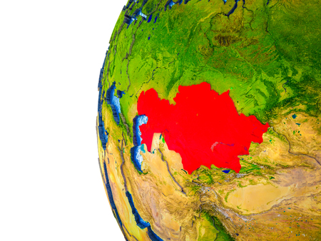Kazakhstan highlighted on 3D Earth with visible countries and watery oceans. 3D illustration.