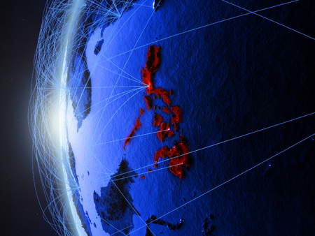Philippines from space on blue digital model of Earth with international network. Concept of blue digital communication or travel. 3D illustration.