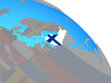 Finland with national flag on simple blue political globe. 3D illustration.