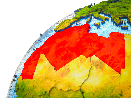 Maghreb region on 3D Earth model with visible country borders. 3D illustration.