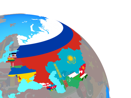 Former Soviet Union with national flags on simple blue political globe. 3D illustration. Stock Photo