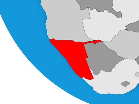 Namibia on simple 3D globe. 3D illustration.