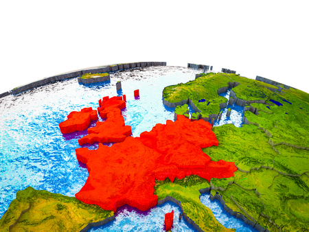 Western Europe on 3D Earth with visible countries and blue oceans with waves. 3D illustration.