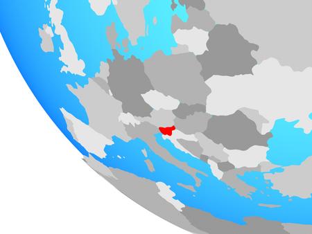 Slovenia on simple globe. 3D illustration.